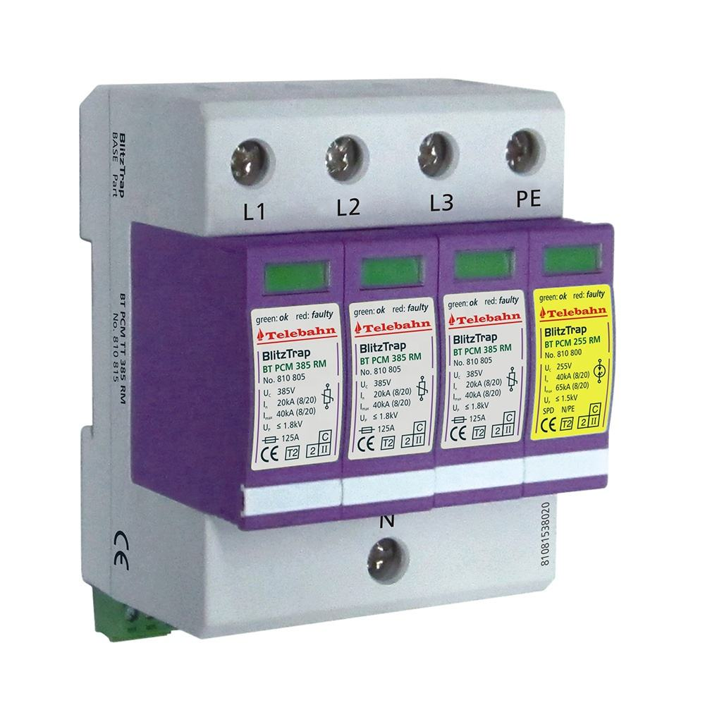 280V 30KA 60KA SPD 4 poles narrow size lightning 120 volt 3 phase surge suppressor ac surge protective device