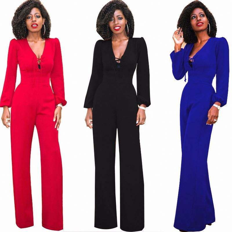 Long Black Rompers Women Jumpsuit Spring Autumn Party V-neck Elastic Cuffs Long Sleeves Loose Club Pants Jumpsuits