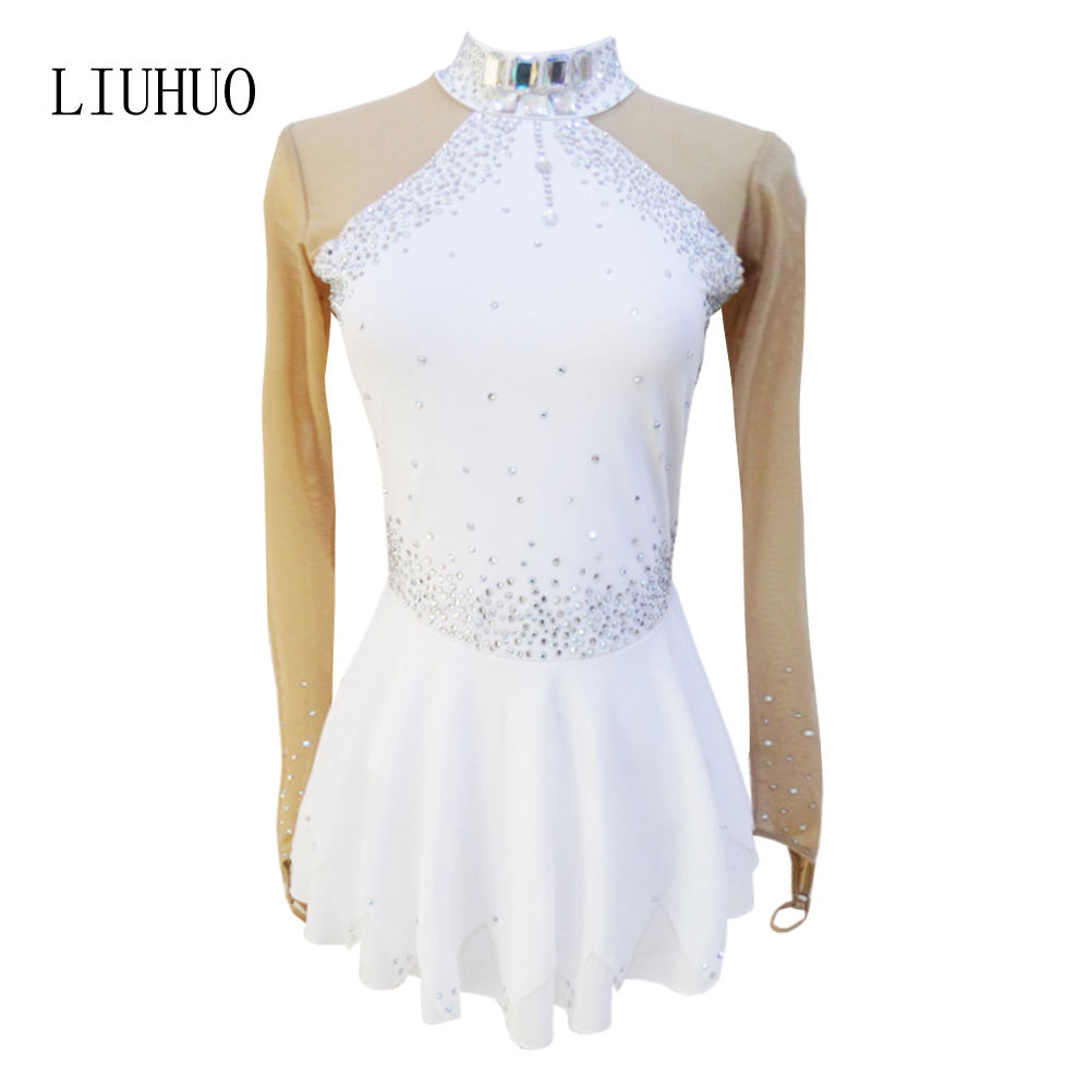 ice figure skating dress Children Dance white dinner jacket Costume Skate Dress Girl Dancewear Costumes