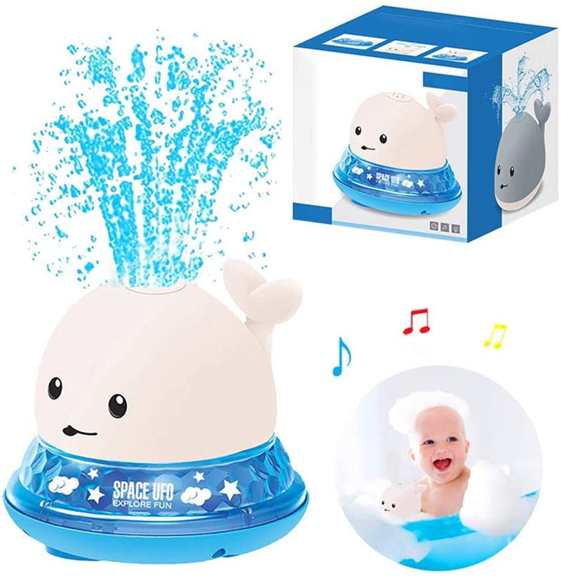2 in 1 Interactive Bath Toys Induction Spray Water Whale Bathing Toys With LED Light And Music Electric Sprinkler Ball For Gift
