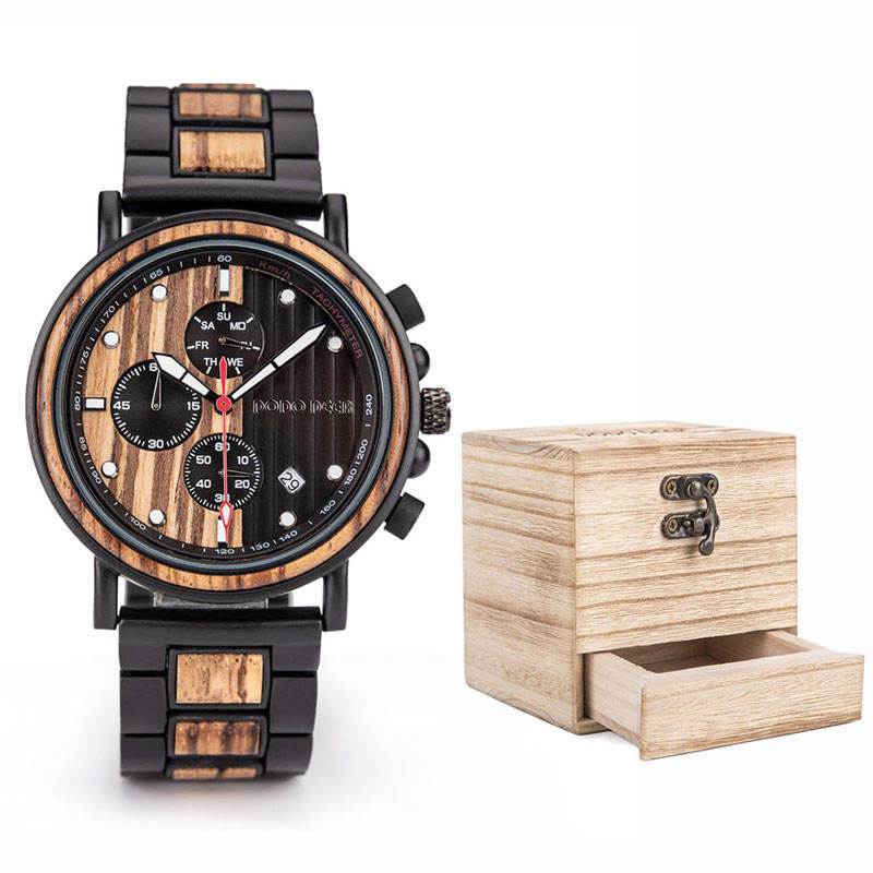 Luxury Wood Stainless Steel Men Watch Stylish Wooden Timepieces Chronograph Quartz Watches Relogio Masculino Gift Man