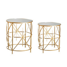 Mayco Wholesale Luxury Mirror Top Unique Accent Gold Metal Wire Side Table