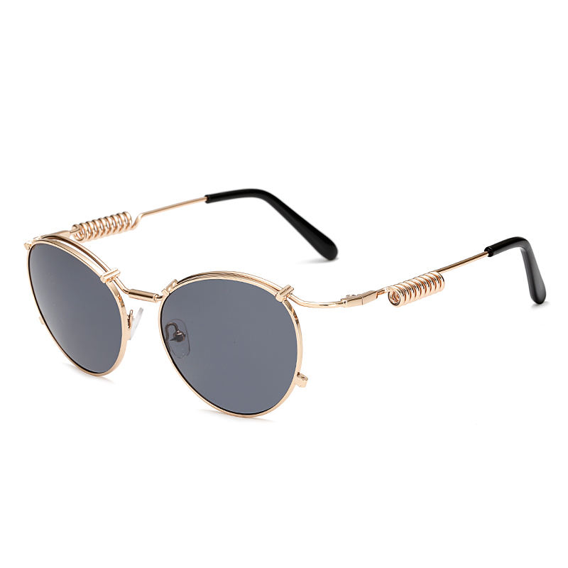 Round Sunglasses Steampunk Crown Mirror Metal Oval Frame sun Glasses Frame Sun glasses for Men and Women Multicolor