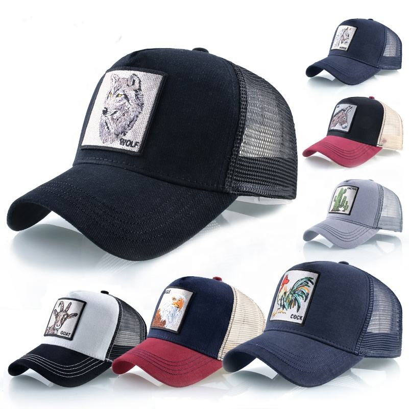 2021 plain cotton adults size embroidered logo high quality animal trucker cap