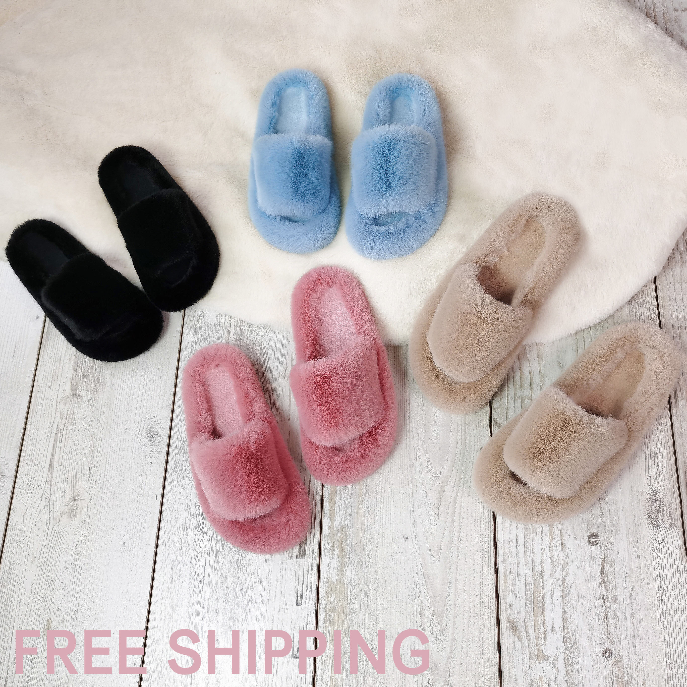 Free Shipping Custom Wholesale Plush Ladies Slippers