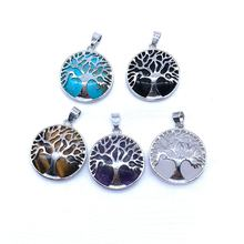 Natural Stone Bead Round coin Pendants Metal Life Tree Charm Owl Drop with Stones Inside For Pendant necklace Jewelry Making