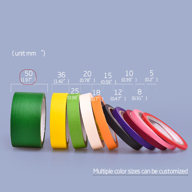 50mmx20m Painters Crepe Paper Masking Tape Customizable 1.5inch core, 2inch core and 3inch core Color Craft Paper Tape