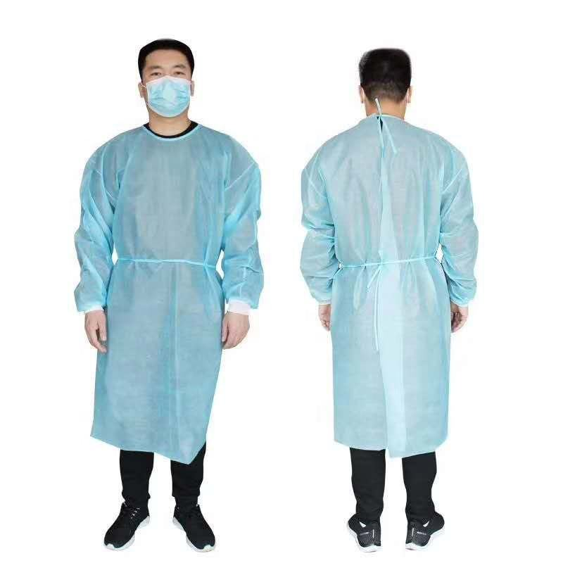 Disposable PP NON WOVEN PE COATED gown AAMI Level ,Level 2, Level 3