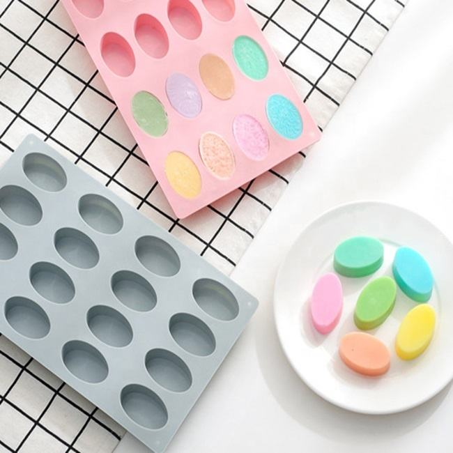 16 cavity oval silicone cake mold handmade silicone soap mold Reusable Silicone Chocolate Mold