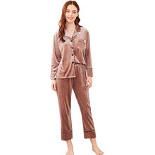 Wholesale New Velvet Sleepwear Women Luxury Pajama Sets Women Casual Home Wearing Clothes
