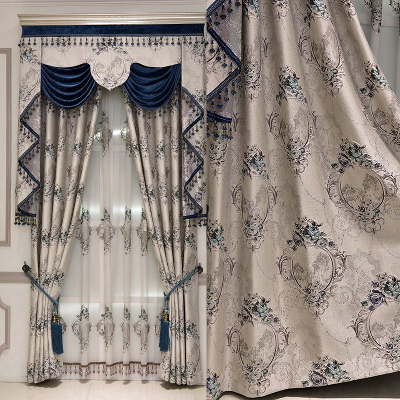 luxury white jacquard design blackout window curtains set with valance for the living room in stock
