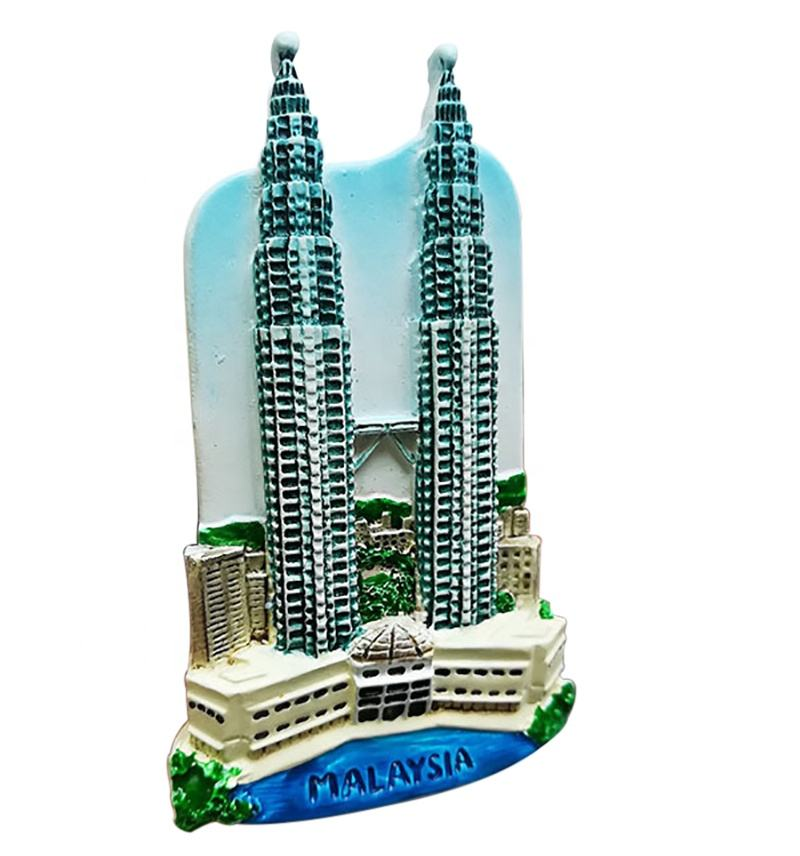 Fashion Design Twin Tower Shaped High Quality Resin 3D Fridge Magnet Kuala Lumpur Malaysia Travel Souvenir