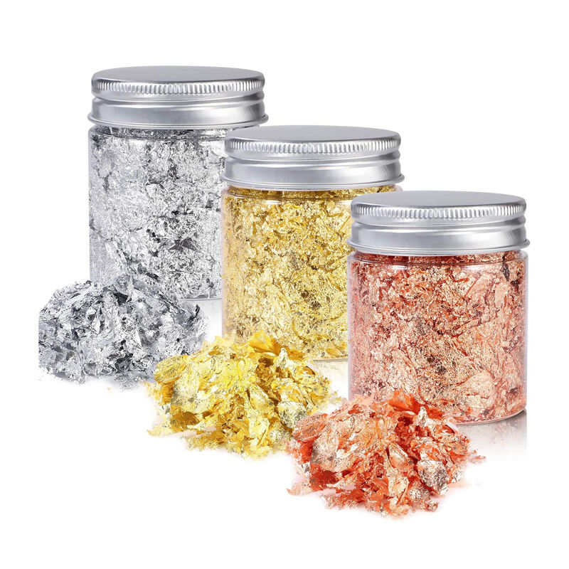 JINGXIN 24k bulk cosmetic rose silver gold leaf foil flakes in bottle for resin lip gloss nails hair candle soap making