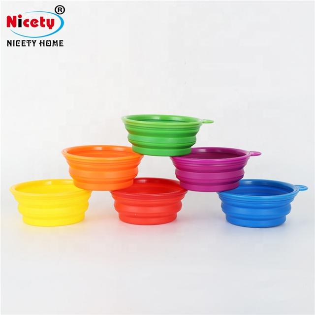 350ml pet feeder silicone folding bowl travel easy portable silicone pet feeder bowl for puppy teddy