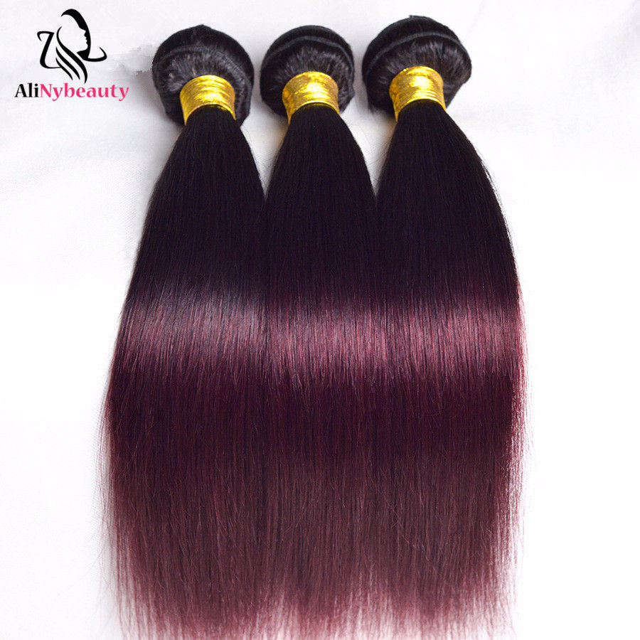 Alinybeauty Liquid Color Hair Bundle 1b/99j Straight Cuticle Aligned Brazilian Cheaper Human Hair Dropping Shipping