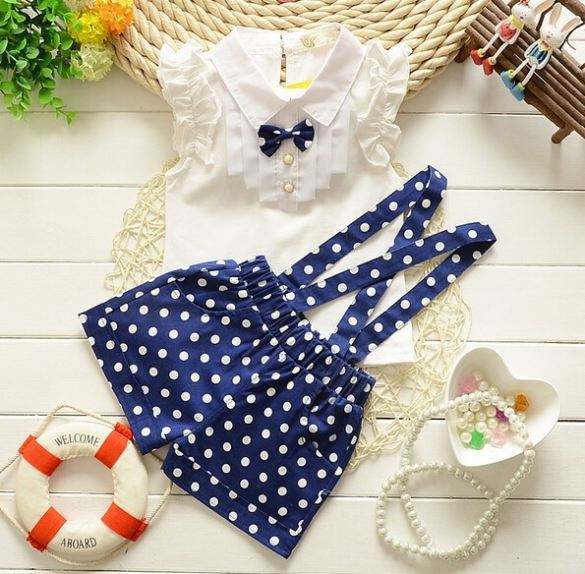 Wholesale Children Boutique Baby Girl Clothes Set Girls Top Dot Printing Made In China