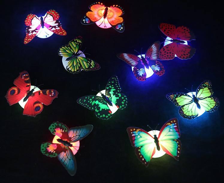 Đáng yêu Sáng Tạo Màu Sắc Thay Đổi ABS Bướm LED Night Lights Đèn Đẹp Trang Chủ Trang Trí Tường Nightlights Ngẫu Nhiên