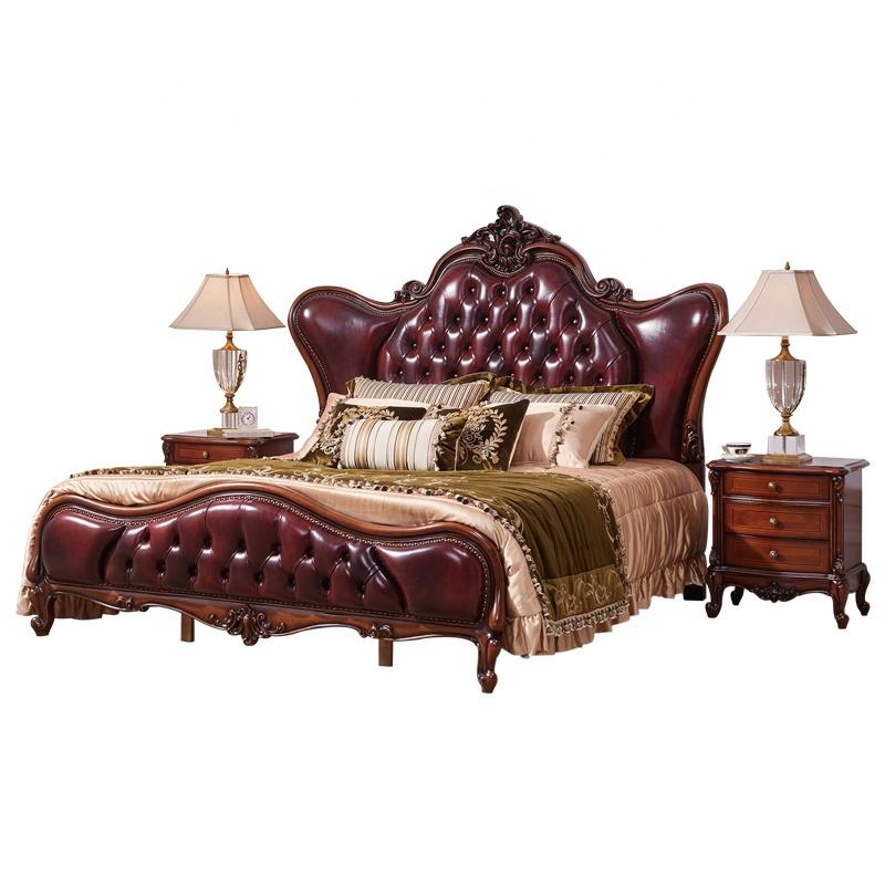 European Royal Luxury Wooden Carved Genuine Leather King Size Hotel Bed