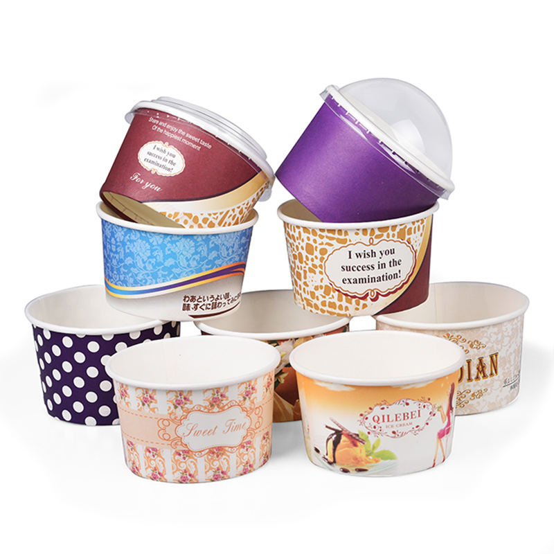 Custom Printed Paper Dessert Cups Bowl 12oz Ice Cream Paper Cup With Lid Spoon