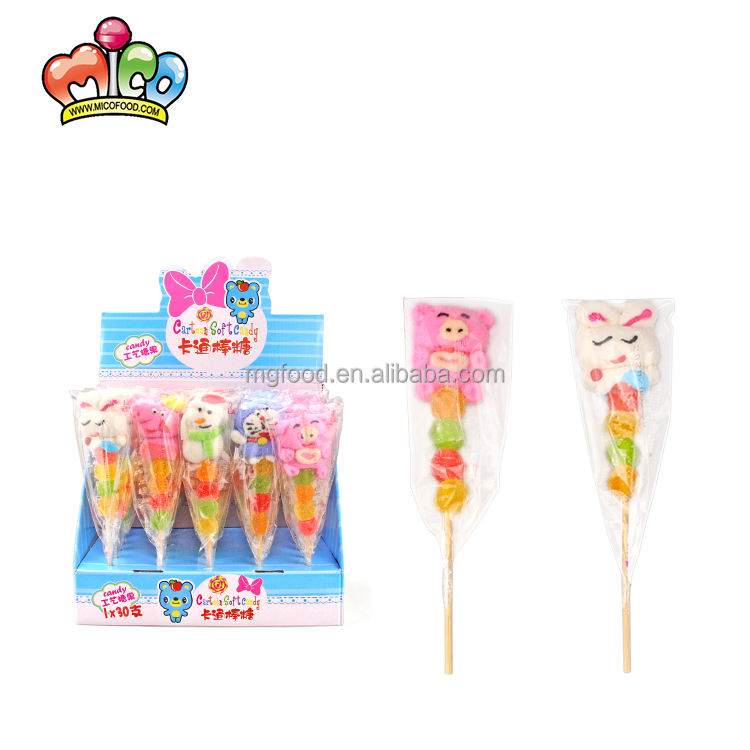 2021 New Cute Cartoon Animals Coated Sugar Marshmallow And Jelly Candy Lollipop