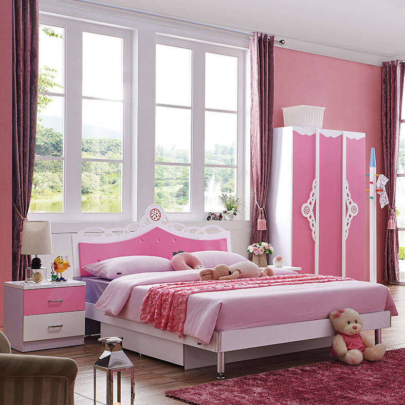 Wood bedroom furniture sets children bedroom pink princess bed for girl