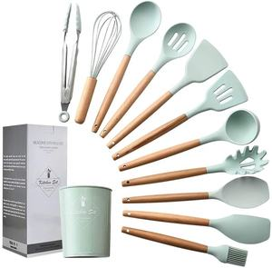 food grade private label bulk 11 pieces baking kitchen accessories wholesale silicone cooking utensil set