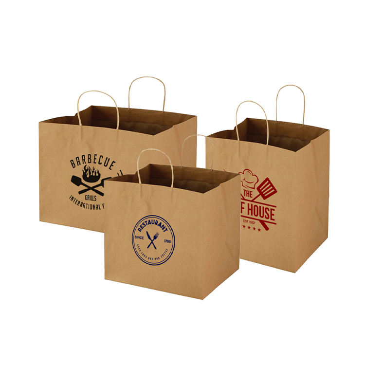 2020 luxury brown kraft paper bags custom decorative Food takeaway packaging paper bag