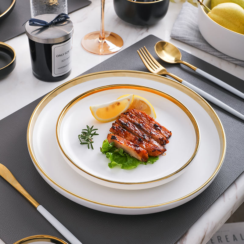 popular customized ceramic plate gold rim dinner set in stock