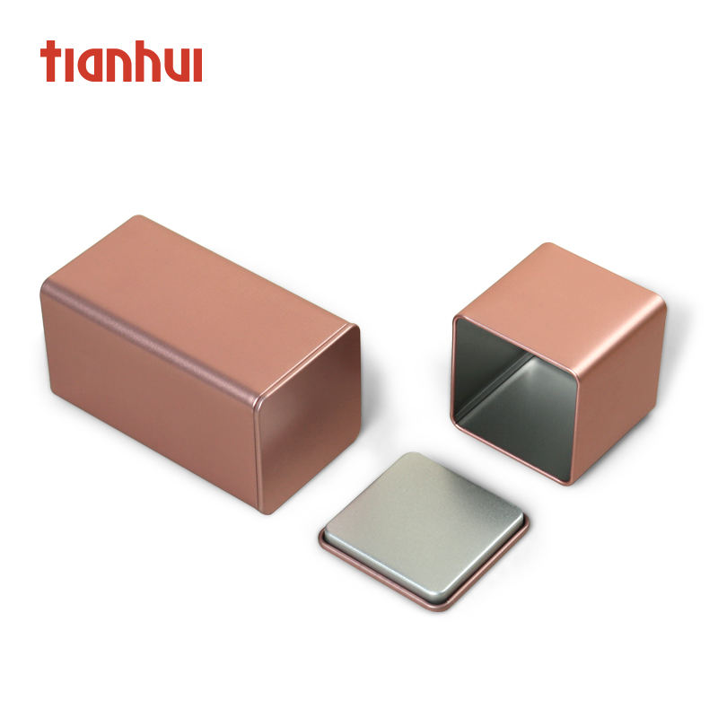 Small Square Rose Gold Coffee Spice Tea Metal Canister Box Tins Cans