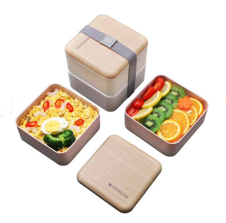 Eco-Friendly Bento Lunch Box For Kids and Adults Bamboo Fiber Lid High Quality Wooden Bento Box
