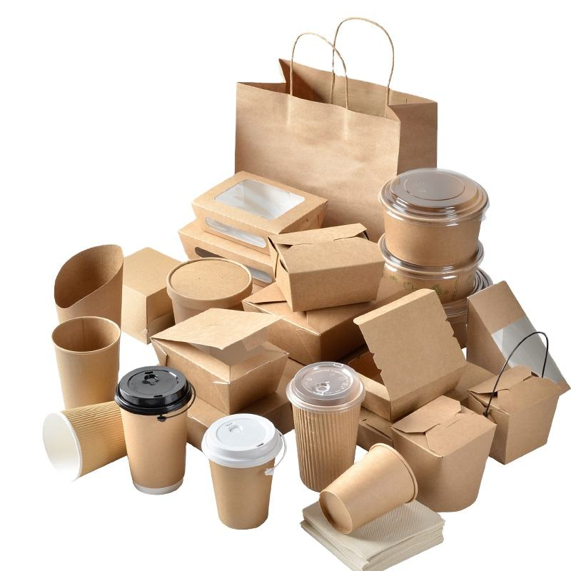 Disposable paper take away food boxes and cup