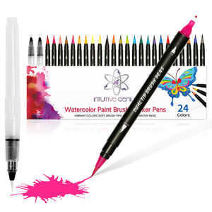 Newly type Customized 24 colors Drawing marker Dual tip Water color Lettering Brush Pen