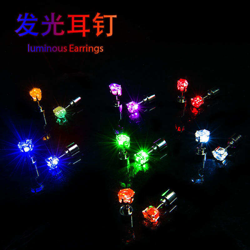 Colorful Mini Led Lighting Star Earrings Flashing Ear Studs for Christmas St. Patrick's Day Party