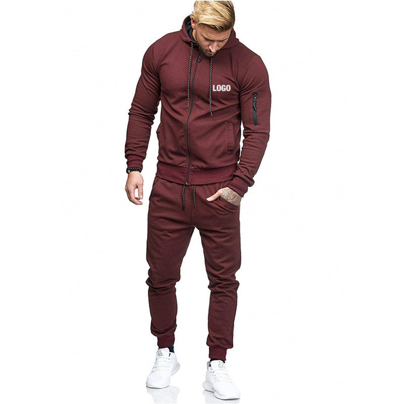 Customizable logo streetwear gym sweat sport fitness men wear jogging sets suits