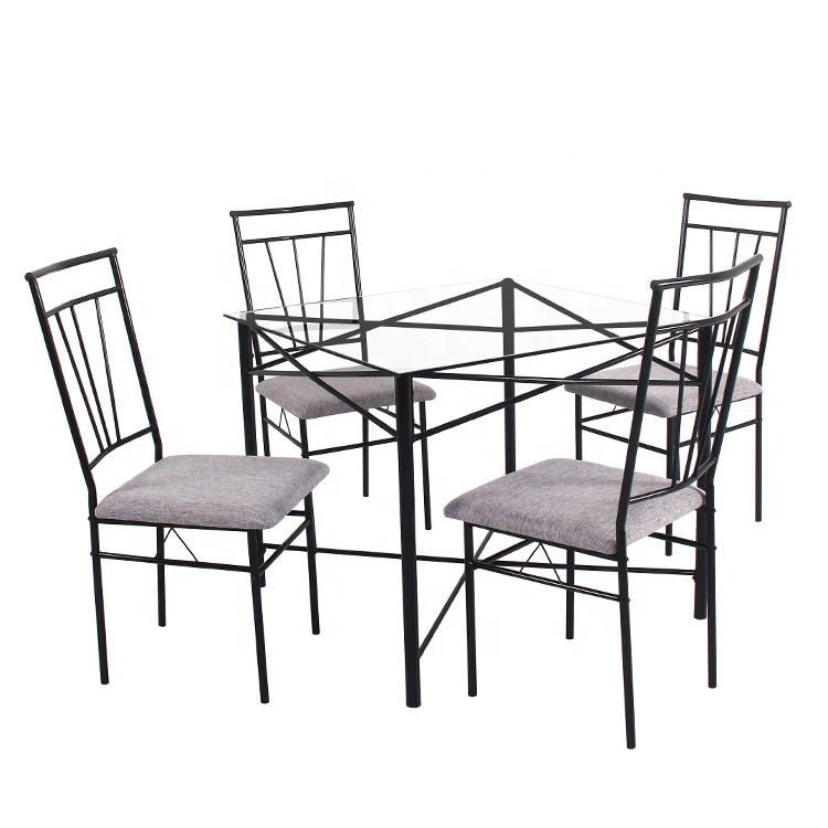 YuKai Temper glass top table with cushion seat chair dining table set metal furniture 1 Table and 4 Chairs DS-0083