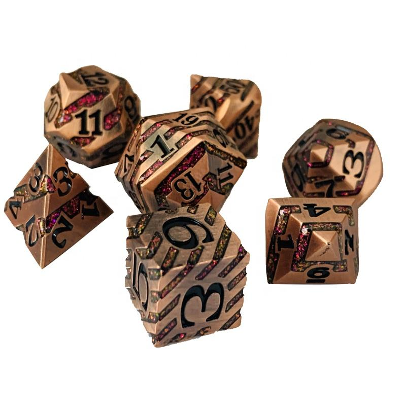 Dungeons and Dragons polyhedral rpg metal dice set