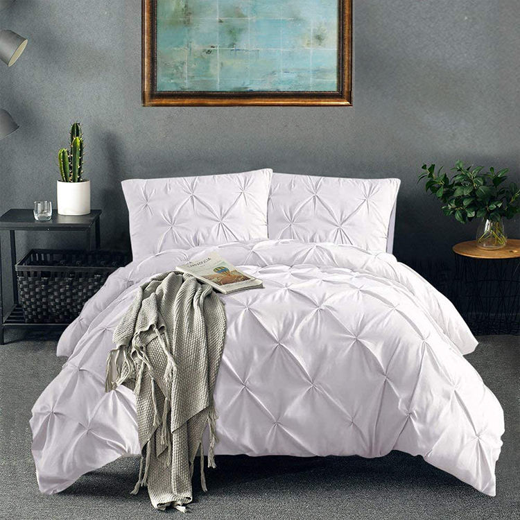 Custom Hypoallergenic 3 Piece Pinch Pleated White Cotton Duvet Cover Bedding Set with Zipper