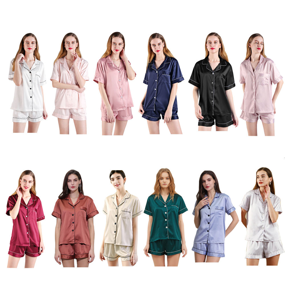 820 Factory Directly Wholesale Summer Fashion High Quality Silk Satin Short Sleepwear Pajamas Set for Bride and Bridesmaids