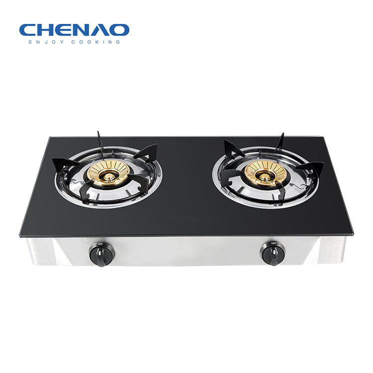 Custom Brand Glass Cooktop 3 Burner Gas Stove Brass