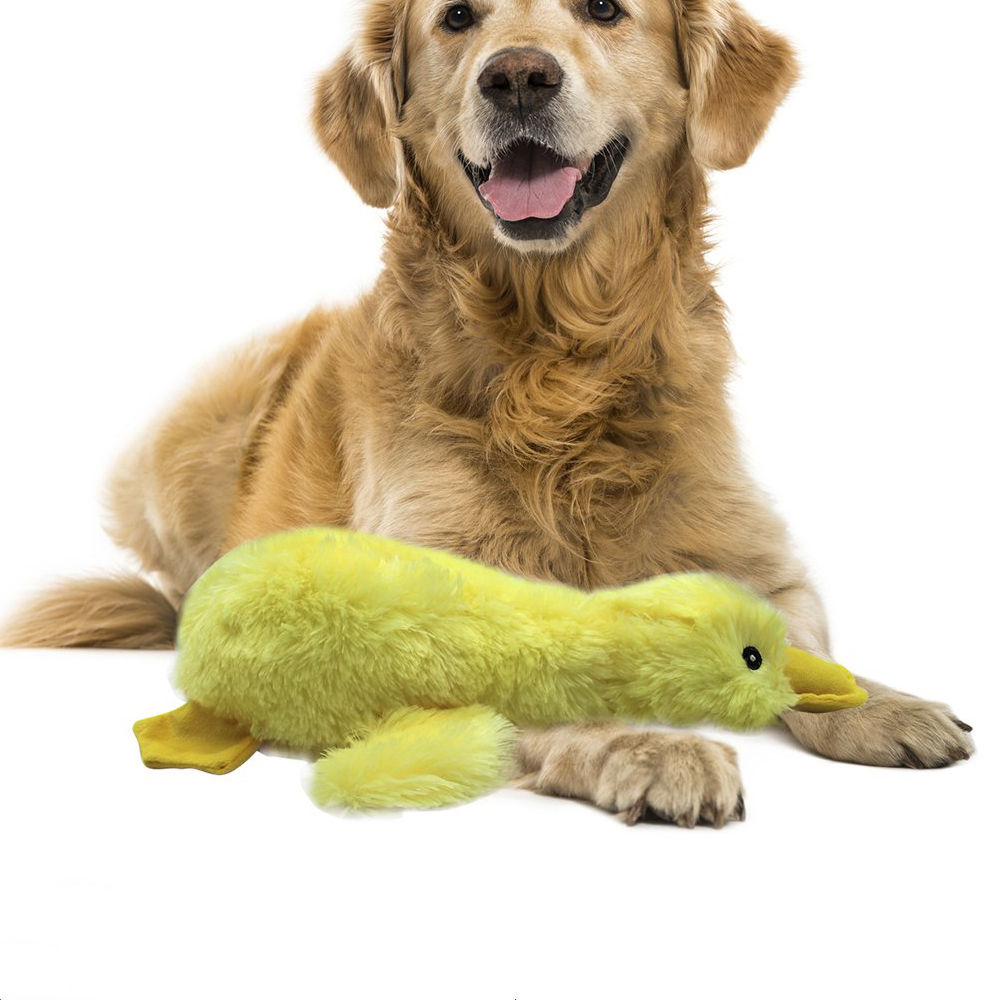 Cotton Large Yellow Duck Squeaky Pet Dog Chew Toy 15