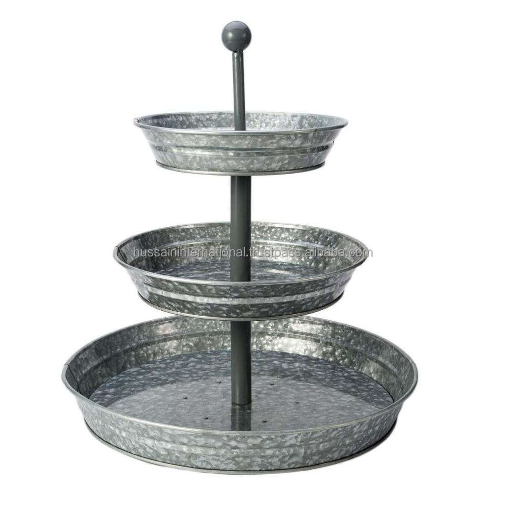 Decorative New Design Galvanized Metal 3 tier Cake Stand For Wedding And Home