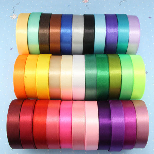 25yard Per Roll Satin Ribbon Color Card Wholesale Solid Color Cheap Satin Ribbon