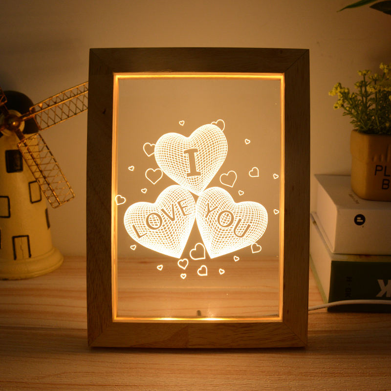 High quality best price wood Led Shadow 3D Art bed Photo Frame Paper Cut Light