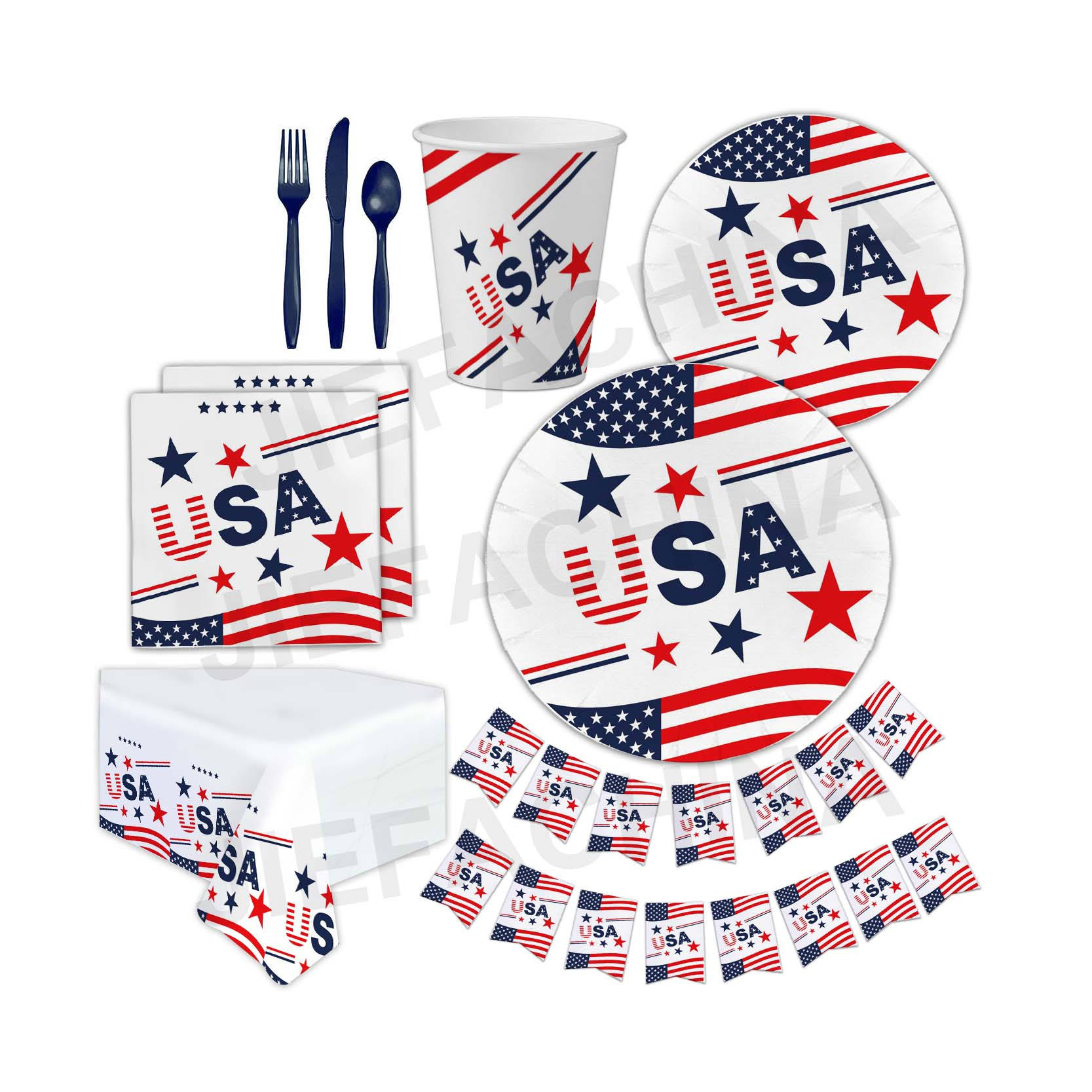 Amazon Hot Selling Paper Tableware 4th of July Party Supplies Favor Independence Day Decorations