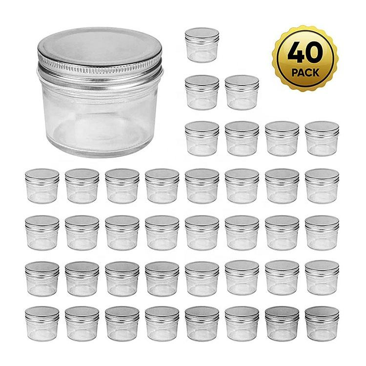 Wholesale 4oz 120ml round wide mouth glass mason jar with metal lid for food storage