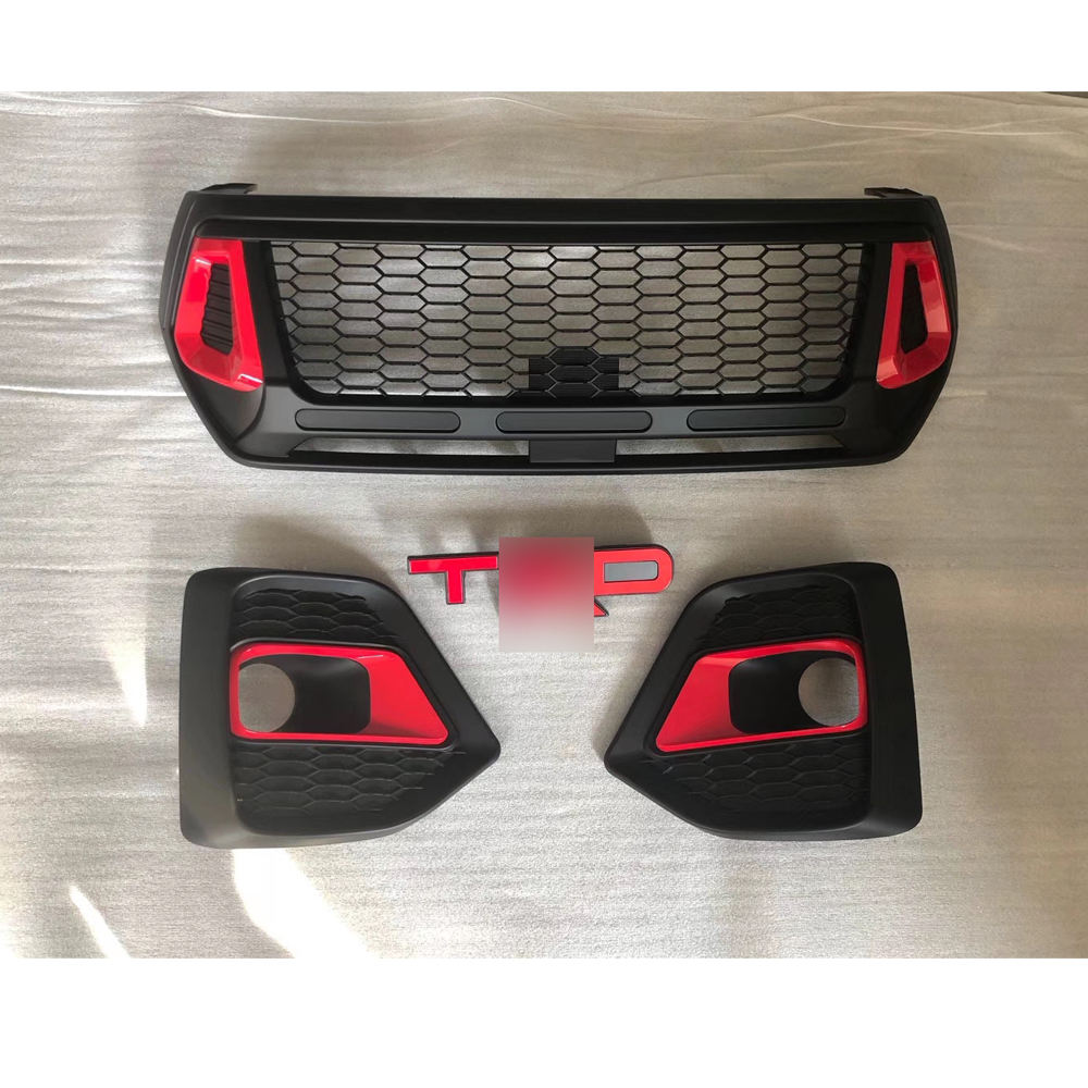 Good Quality Wholesale Car Accessories Red TRD Grilles ABS Black Paint Front Grill For Hilux Rocco 2018