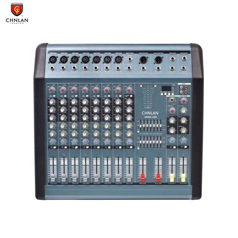 K806D Dibangun Di Amplifier 360W Digital Profesional Audio USB 8 Saluran Powered Mixer