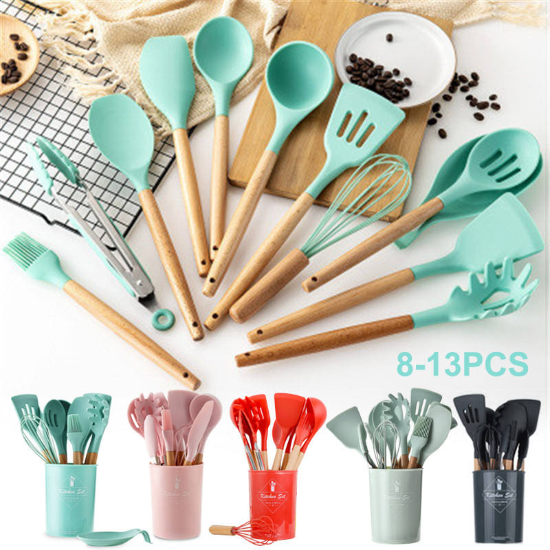 Custom Wholesale 2020 New Household Silicone Wooden Cooking Utensil Kitchen Accessories Set with Wood Handles