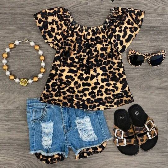 boutique outfits summer girl child clothes Leopard print top jeans shorts girl clothes set