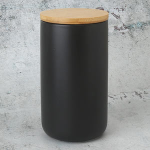 35oz 1000ml Black Airtight Ceramic Porcelain Kitchen Storage Jars Canisters With Bamboo Lid Sets